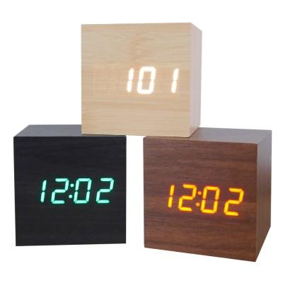 우드 LED 무소음 디지털 탁상시계 큐브