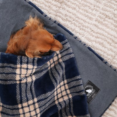 NAVY CHECK FUR BLANKET