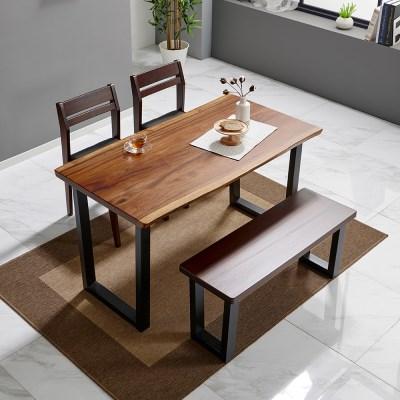 [리코베로] 로사 장미나무 원목 우드슬랩 4인용 식탁세트