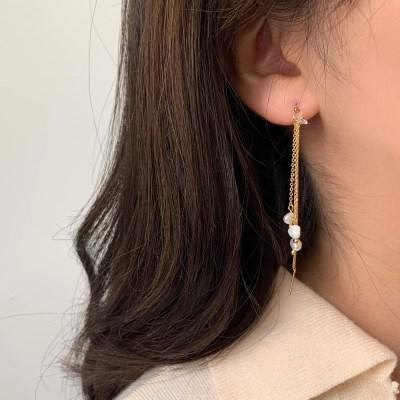 [귀찌가능] 미니진주 체인 세줄 드롭 귀걸이