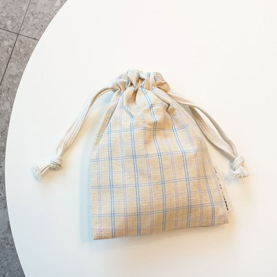 pastel check string pouch_옐로우아이보리