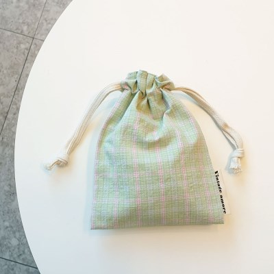 pastel check string pouch_민트