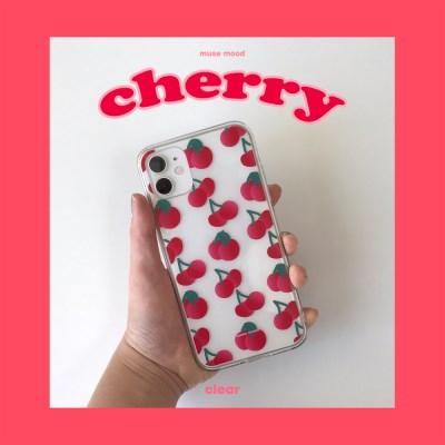 [뮤즈무드] cherry (clear) 아이폰케이스