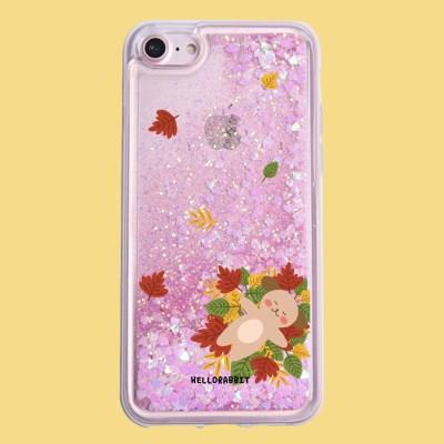 [헬로래빗]낙엽에눕개 누렁이 아쿠아 글리터 핸드폰 케이스