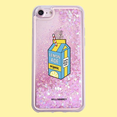 [헬로래빗]레몬에이드 기본 아쿠아 글리터 핸드폰 케이스