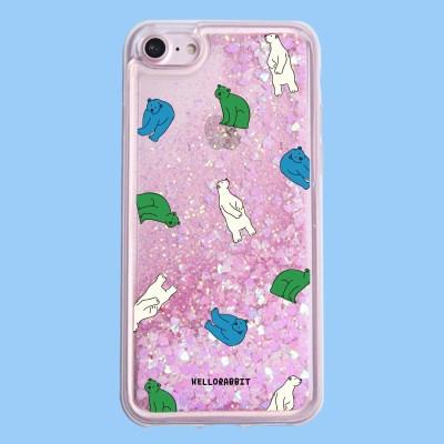 [헬로래빗]겨울곰 아쿠아 글리터 핸드폰 케이스