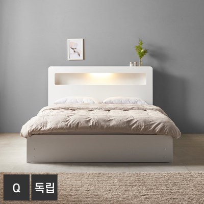 AND 화이트 릴렉스 LED조명 Q 침대+독립매트 DM7018