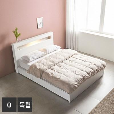 AND 화이트 머스크 LED조명 Q 서랍침대+독립매트 DM7012