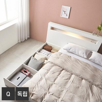 AND 화이트 머스크 LED조명 Q 침대+독립매트 DM7006