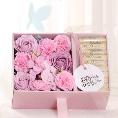 [데코봉봉]플라워 용돈 박스(핑크-투명뚜껑)