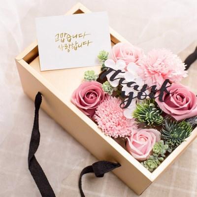 [데코봉봉]비누 카네이션 용돈 박스(핑크-투명뚜껑)