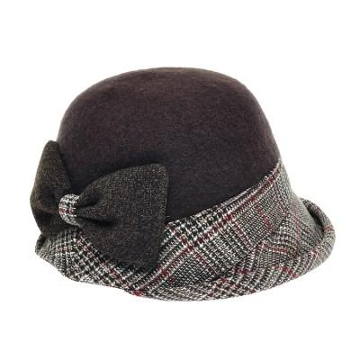 [플릭앤플록]RCU17.글랜체크챙 펠트 여성 벙거지 모자
