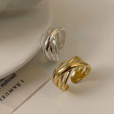 볼드한 크로스 가락지 925링 프리사이즈 반지