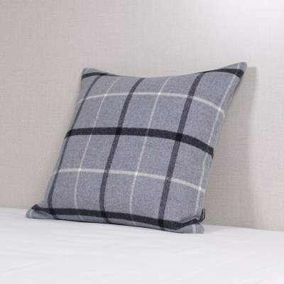 Blue Gray Wool Check Cushion