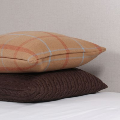 Camel Wool Check Cushion