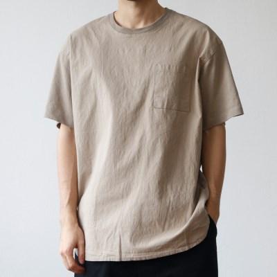 린넨 콤비 라운드넥 슬릿 밑단 반팔 티셔츠