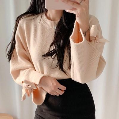 예쁜추억 소매리본 라운드넥 니트(knit527)_(1786326)