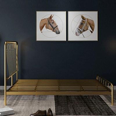 아파트32 홈 골드 철제 비트 침대 프레임/라지킹(1800x2000)