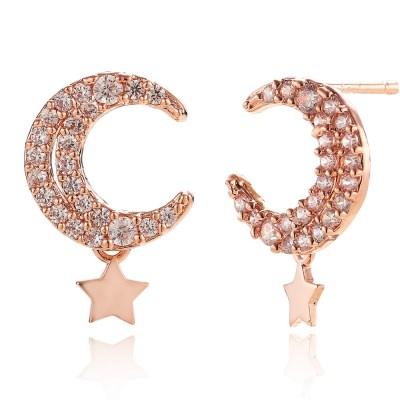 14K 뉴문 골드핀 귀걸이(핑크골드)