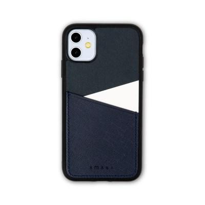 스매스 아이폰11 보호 가죽 카드케이스 오원_네이비(사피아노)