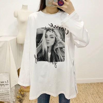 마쉬옐로우 호벨 레터링 라운드 슬릿 티셔츠