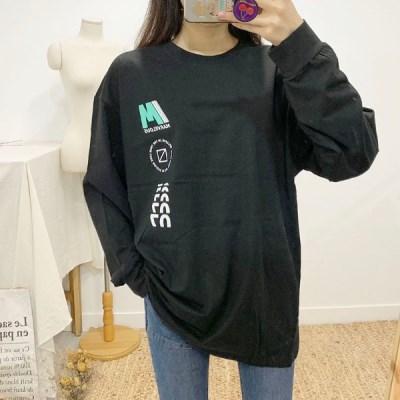 마쉬옐로우 테이크 프린팅 라운드 롱 티셔츠