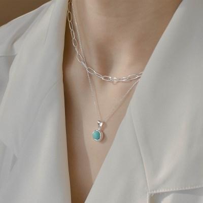 925실버 심플 터키석 목걸이 베이직 탄생석 은목걸이