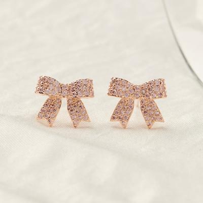 핑크 리본 큐빅 귀걸이