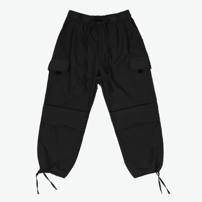 NYLON 2 TUCK POCKET PANTS (BLACK)_(401055708)