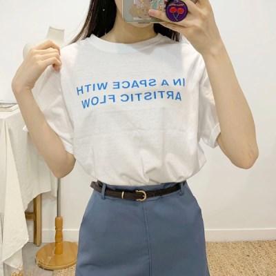 마쉬옐로우 스페이스 레터링 라운드넥 반팔 티셔츠