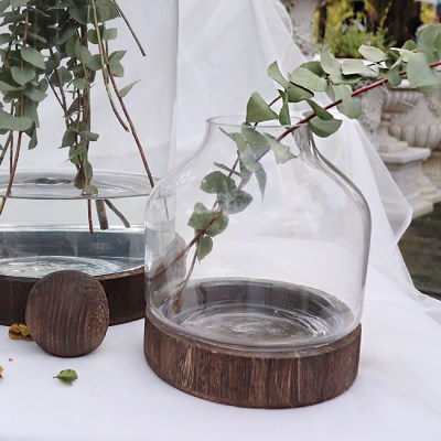 나무볼 유리함 투명 유리화병 글라스 통화병 빈티지 인테리어화병