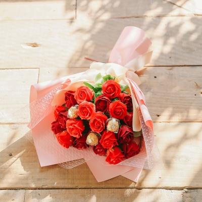 베니카 하트로즈 21송이 초콜렛,사탕 비누꽃다발-발렌타_(100869642)