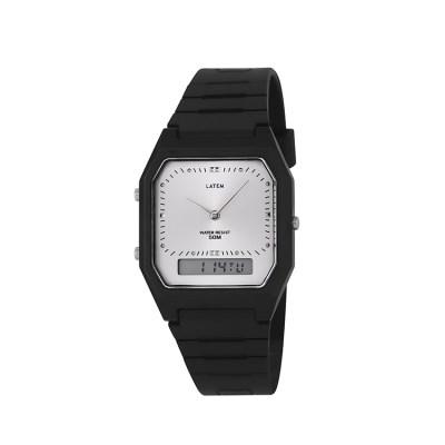 빈티지 뉴트로 러버밴드 디지털 시계_실버블랙컬러(AG2G0305DASB)