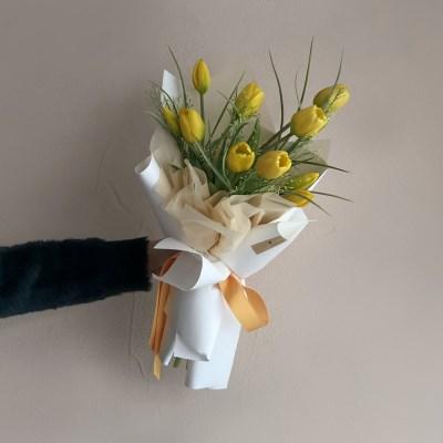 [조화/실크플라워] 인테리어 프리미엄 조화 튤립 꽃다발 (Yellow)