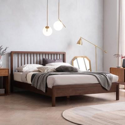 몬트리올 전체 고무나무 원목 침대(DH 본넬스프링 서포트 매트-Q)