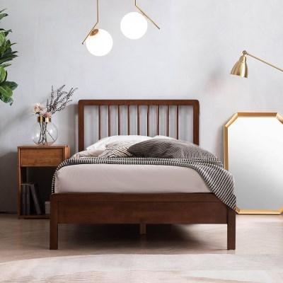 몬트리올 전체 고무나무 원목 침대(DH 본넬스프링 서포트 매트-SS)