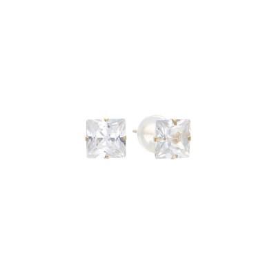 로이드 기본 사각 큐빅 14K Gold 귀걸이 E8PF1S31