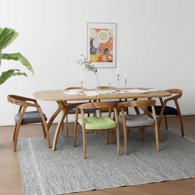 [오크] C형 커브식탁/테이블 세트 : 레드오크_(1464115)