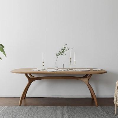 [오크] C형 커브식탁/테이블 : 레드오크_(1463869)