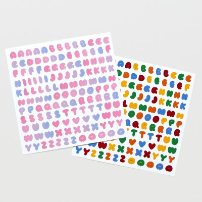 On graphic. ABC sticker multicolor 2type
