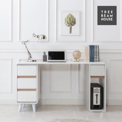 트리빔하우스 우노 라운드 1200 수납 책상세트 - 책장형