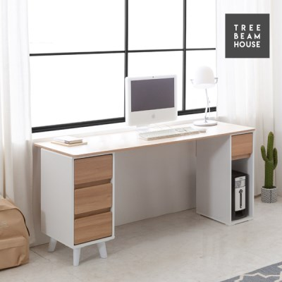 트리빔하우스 우노 라운드 1600 수납 책상세트 - 본체형
