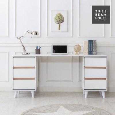 트리빔하우스 우노 라운드 1600 수납 책상세트 - 서랍형