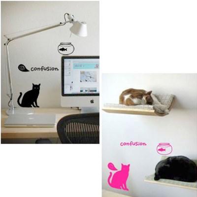 그래픽 스티커 포인트 컷팅시트지 혼란스러운 고양이