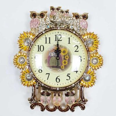 예쁜 엔틱 인테리어 골드 핑크 세븐 부엉이 벽시계