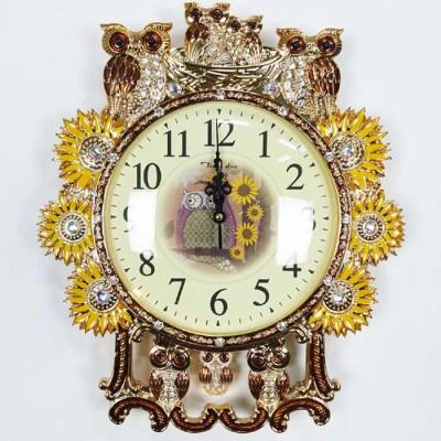 예쁜 엔틱 인테리어 골드 브라운 세븐 부엉이 벽시계