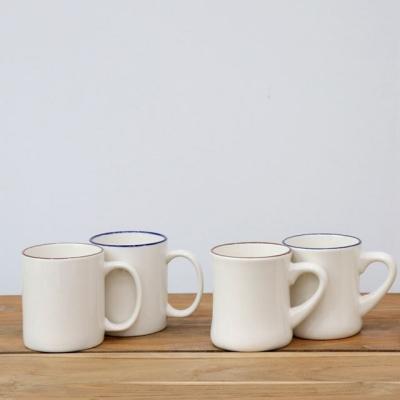 시라쿠스 브라운 블루 라인 머그컵 커피잔