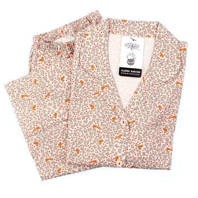 알콩단잠 여성잠옷 나디아 순면기모 긴팔 상하세트 (셔츠형)
