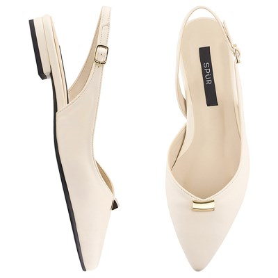 SPUR[스퍼] 슬링백  PS8011 Triangle gold bar sling back 아이보리