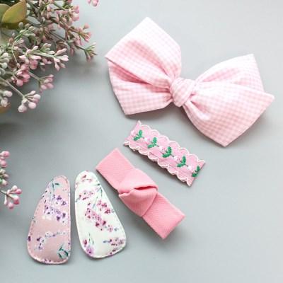 채니봉봉 핑크길만걷자 헤어핀세트 유아헤어핀_(1022075)
